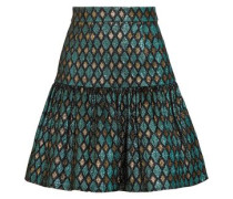 Gathered Metallic Jacquard Mini Skirt Multicolor
