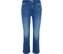 Woman Le High Cropped Faded High-rise Straight-leg Jeans Mid Denim