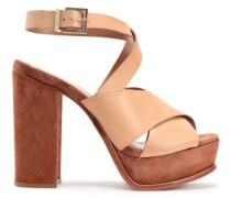 Leather And Suede Sandals Sand