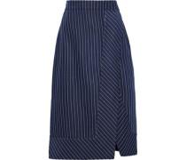 Jude Wrap-effect Pinstriped Gabardine Skirt Navy