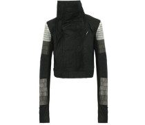 Bead-embellished brushed-leather biker jacket