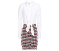 Paneled Cotton-blend Poplin And Tweed Mini Dress White