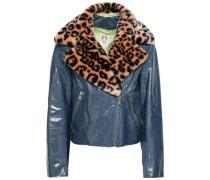 Leopard-print Faux Fur-trimmed Coated Cotton-blend Jacket Navy