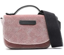 Bead-embellished quilted velvet shoulder bag