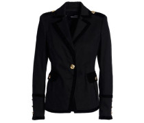 Velvet-trimmed cotton-blend garbardine blazer