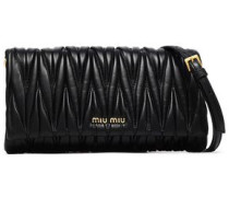 Matelassé Leather Shoulder Bag Black Size --