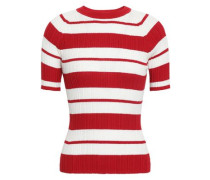 Striped Ribbed Silk-blend Top Red
