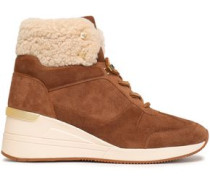 Woman Liv Studded Shearling-trimmed Suede Ankle Boots Brown