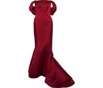 Off-the-shoulder Fluted Duchesse-satin Gown Burgundy