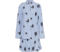 Layered printed cotton-poplin mini shirt dress