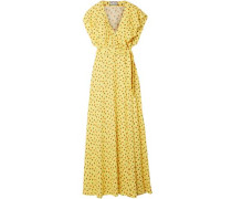 Amalia Ruffled Floral-print Crepe Wrap Maxi Dress Yellow