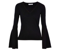 Fluted Striped Stretch-knit Sweater Black