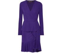 Wrap-effect ruffled stretch-jersey mini dress