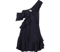 Rife One-shoulder Cutout Faille Mini Dress Navy Size 1