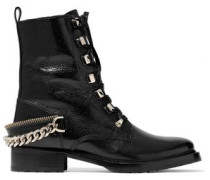 Chain-trimmed leather ankle boots