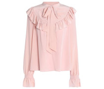 Pussy-bow ruffled silk crepe de chine blouse