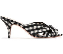 Knotted Gingham Organza Mules Black
