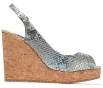 Metallic snake-effect leather wedge sandals