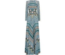 Open-back Cutout Printed Crepe De Chine Gown Turquoise