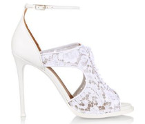 Platform sandals in white leather and lace