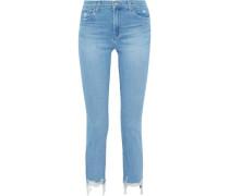 Ruby Distressed High-rise Slim-leg Jeans Light Blue  4