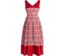 Woman Macramé-paneled Silk-blend Midi Dress Red