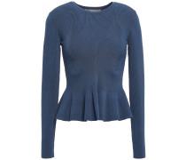 Woman Ribbed-knit Peplum Sweater Storm Blue