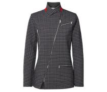 Zip-detailed Checked Tweed Jacket Black