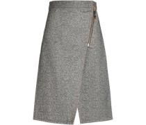 Wrap-effect zip-detailed mélange cotton skirt