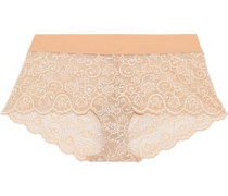 Double Take Stretch-lace Mid-rise Briefs Beige  /M