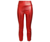 Cropped Metallic Leather Leggings Red
