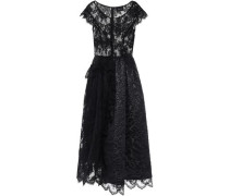 Woman Cloqué-paneled Tinsel-trimmed Corded Lace And Tulle Midi Dress Black