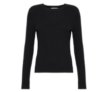 Ribbed Merino Wool-blend Top Black