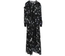 Sana Asymmetric Floral-print Georgette Maxi Dress Black