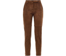 Suede Straight-leg Leather Pants Brown