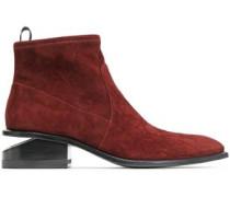 Koru Cutout Stretch-suede Ankle Boots Burgundy
