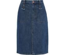 Braid-detailed Denim Skirt Mid Denim