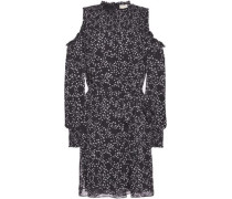 Cold-shoulder Shirred Printed Georgette Mini Dress Black
