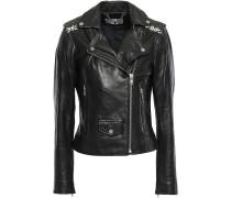 Woman Printed Canvas-paneled Leather Biker Jacket Black