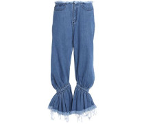 Frayed gathered low-rise flared jeans