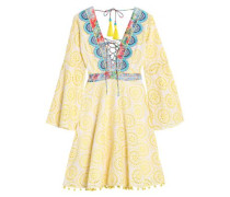 Lace-up embroidered broderie anglaise cotton and silk-blend dress