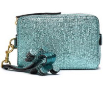 Metallic Textured-leather Clutch Turquoise Size --