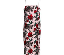 Floral-print silk-cady slip dress