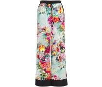 Woman Floral-print Burnout Satin-twill Wide-leg Pants Mint