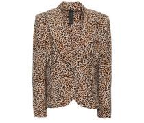 Leopard-print Stretch-knit Blazer Animal Print