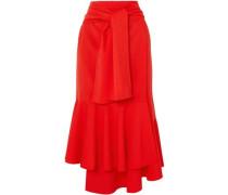 Asymmetric Wool-blend Midi Skirt Red
