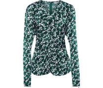 Ruched Printed Satin Top Emerald
