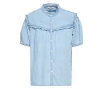 Ruffled Cotton And Silk-blend Chambray Shirt Light Blue