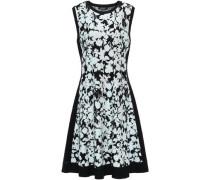 Flared Jacquard-knit Dress Black