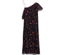 Perla One-shoulder Floral-print Silk-georgette Dress Black Size 0